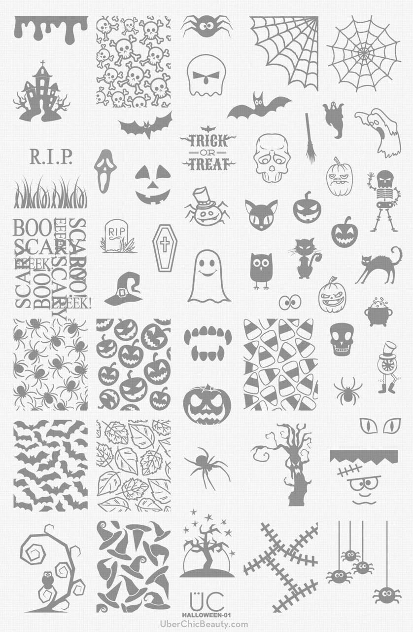Halloween 01 Uberchic Beauty Nail Stamping Plate Nail Artisan